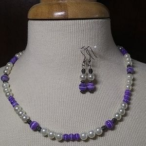 Pearl and Purple Necklace Earring Set